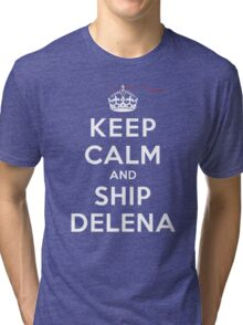 Keep Calm and SHIP Delena (Vampire Diaries) DS Tri-blend T-Shirt