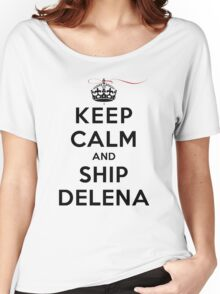 Keep Calm and SHIP Delena (Vampire Diaries) LS Women's Relaxed Fit T-Shirt