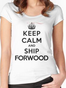 Keep Calm and SHIP Forwood (Vampire Diaries) LS Women's Fitted Scoop T-Shirt