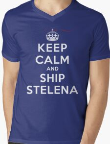 Keep Calm and SHIP Stelena (Vampire Diaries) DS Mens V-Neck T-Shirt