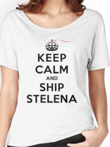 Keep Calm and SHIP Stelena (Vampire Diaries) LS Women's Relaxed Fit T-Shirt