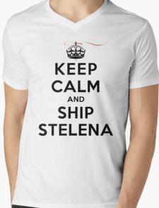 Keep Calm and SHIP Stelena (Vampire Diaries) LS Mens V-Neck T-Shirt