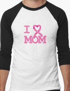 I Heart MOM - Breast Cancer Awareness Men's Baseball ¾ T-Shirt