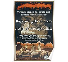 Join a sheep club Twenty sheep to equip and clothe each soldier Poster