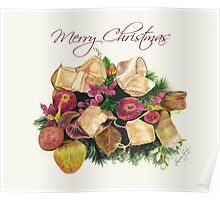 Merry Christmas Pomegranates and Berries Poster