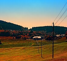Powerlines into the distance by Patrick Jobst