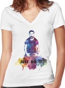 Just Do It Shia Labeouf Colourful Women's Fitted V-Neck T-Shirt