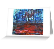 Chain bridge on red river Greeting Card