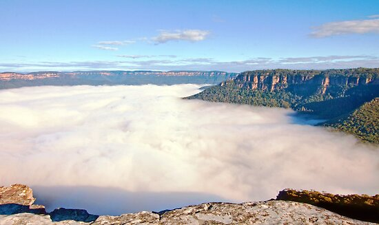 Mist Off the Edge at Flat Rock by jayneeldred