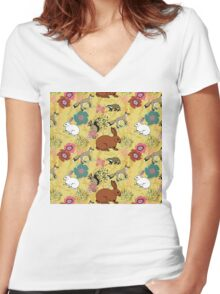 Woodland Excitement Women's Fitted V-Neck T-Shirt