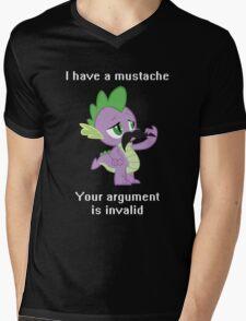 I have a mustache, your argument is invalid. Mens V-Neck T-Shirt