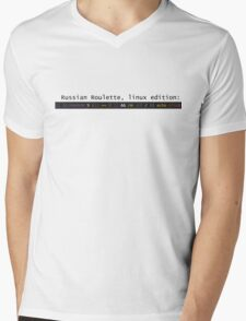 Russian Roulette, linux edition Mens V-Neck T-Shirt