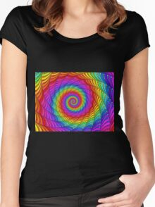 Psychedelic Rainbow Spiral  Women's Fitted Scoop T-Shirt