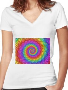 Psychedelic Rainbow Spiral  Women's Fitted V-Neck T-Shirt