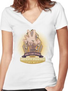 Insect Swarm Plasmid Women's Fitted V-Neck T-Shirt