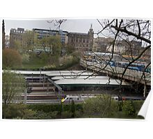 Train station and buses in Edinburgh Poster