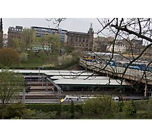 Train station and buses in Edinburgh Photographic Print