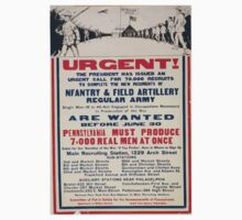 Urgent! The president has issued an urgent call for 70000 recruits to complete the new regiments of infantry & field artillery regular Army One Piece - Long Sleeve