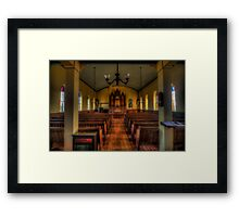 Inside the Old Norse Church (AKA St. Olaf's or The Old Rock Church) Framed Print