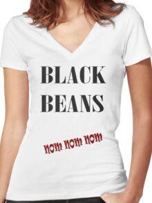 Black Beans Women's Fitted V-Neck T-Shirt