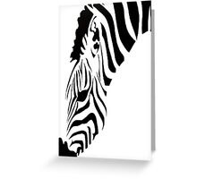 Grazing Zebra Vector Isolated On White Greeting Card