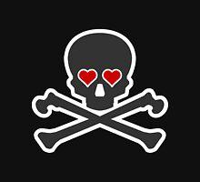 Black Skull With Red Heart Eyes Unisex T-Shirt