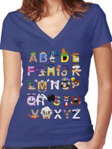 Breakfast Mascot Alphabet Women's Fitted V-Neck T-Shirt