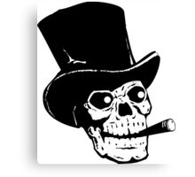 Black and white skull with tophat and cigar Canvas Print