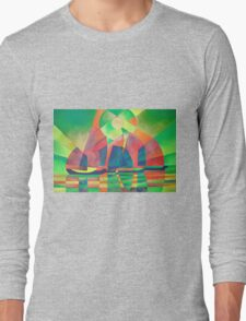Sea of Green With Cubist Abstract Junks Long Sleeve T-Shirt