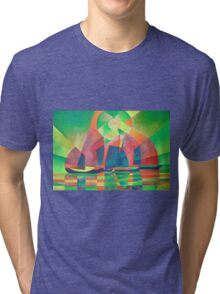 Sea of Green With Cubist Abstract Junks Tri-blend T-Shirt