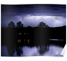 Lightning Over Coot Lake Poster