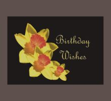 Daffodils Isolated On Black Birthday Wishes Kids Clothes