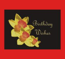 Daffodils Isolated On Black Birthday Wishes Kids Tee