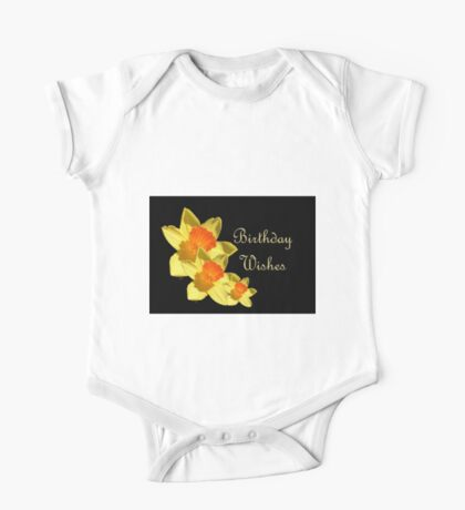 Daffodils Isolated On Black Birthday Wishes One Piece - Short Sleeve