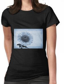 Cyanotype Aster with Textures Womens Fitted T-Shirt