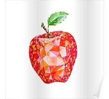 Low Poly Watercolor Apple Poster