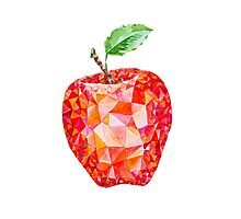 Low Poly Watercolor Apple Photographic Print
