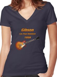 Vintage Les Paul 1959 Women's Fitted V-Neck T-Shirt