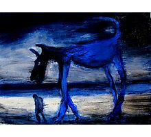 walking with the old blue dog Photographic Print