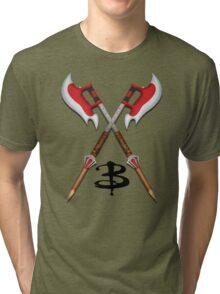 Buffy -- Scythes Crossed Tri-blend T-Shirt