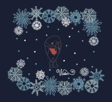 Funny birds bullfinch on winter background snowflakes Kids Tee
