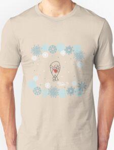 Funny birds bullfinch on winter background snowflakes Unisex T-Shirt