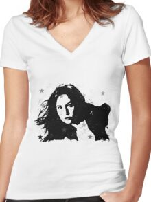 Dear, Pond Women's Fitted V-Neck T-Shirt