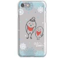 Funny birds bullfinch on winter background snowflakes iPhone Case/Skin