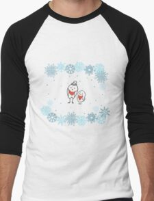 Funny birds bullfinch on winter background snowflakes Men's Baseball ¾ T-Shirt