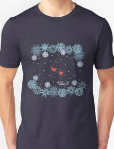 Funny birds bullfinch on winter background snowflakes T-Shirt