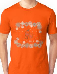 Funny birds bullfinch on winter background snowflakes Unisex T-Shirt