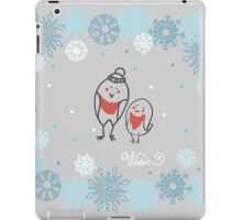 Funny birds bullfinch on winter background snowflakes iPad Case/Skin