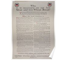 Why is it necessary to eat less meat and less wheat bread Eat plenty wisely without waste and help win the war 002 Poster