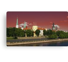 Spires & Towers, Riga ( orange sky version ) Canvas Print